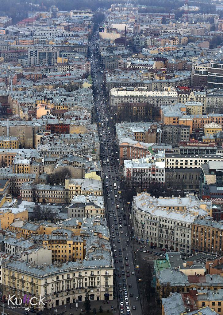 Каменоостровский проспект с высоты птичьего полета